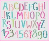 Fuente colorida de los niños del garabato Imagen de archivo libre de regalías