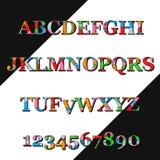 Fuente colorida y números Imágenes de archivo libres de regalías