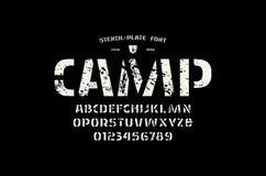 Fuente común de sans serif de la plantilla-placa del vector imagen de archivo