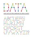 Fuente con las letras integradas por líneas y puntos ilustración del vector