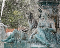 Fuente da Figueira. An ancient  fountain in a Lisbona's square Stock Photo