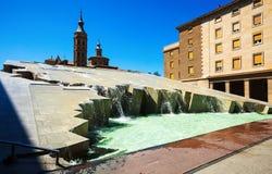 Fuente de Λα Hispanidad σε Σαραγόσα.  Αραγονία Στοκ Εικόνες