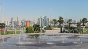Fuente de agua de Doha almacen de video
