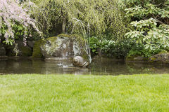 Fuente de agua en la charca del jardín Foto de archivo libre de regalías