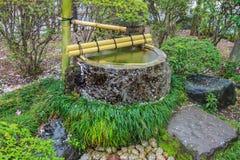 Fuente de agua de Tsukubai en jardín japonés en Kita-en el templo, Kosenbamachi, Kawagoe, Saitama, Japón en primavera Con el arou Fotografía de archivo
