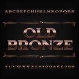 Fuente de bronce del alfabeto del vintage Letras y números rasguñados libre illustration