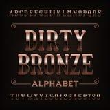 Fuente de bronce sucia del alfabeto del vintage Letras y números rasguñados ilustración del vector