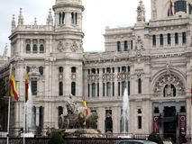 Fuente de Cibeles and Palacio de Correos of the city of Madrid, located in the plaza of the same name, in the center of the Spanis royalty free stock photography