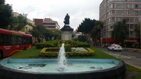 fuente de Cristobal Colon en un día nublado en la ciudad de Mexicorn Imagen de archivo