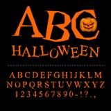 Fuente de Halloween Curvas de letras al día de fiesta terrible Al quebrado Foto de archivo