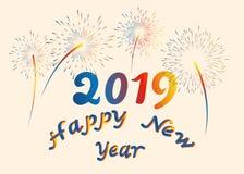 Fuente de la Feliz Año Nuevo del ejemplo del vector con los fuegos artificiales coloridos del diseño 2019 del arte de las letras  stock de ilustración