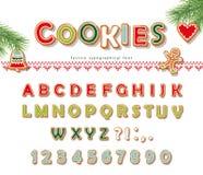Fuente de la galleta del pan de jengibre de la Navidad Letras y números de la galleta Vector Imagen de archivo libre de regalías