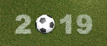 Fuente de la hierba con la representación de ball-3D Fotografía de archivo libre de regalías