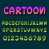 Fuente de la historieta letras y números multicolores de neón del vector para Fotos de archivo libres de regalías