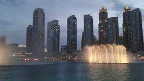 Fuente de la noche de Dubai almacen de metraje de vídeo