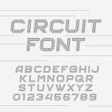 Fuente de la placa de circuito Alfabeto del vector stock de ilustración