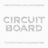 Fuente de la placa de circuito Alfabeto del vector Letras y números de alta tecnología del estilo de Digitaces Foto de archivo
