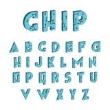 fuente de la tecnología 3d Alfabeto de alta tecnología de Digitaces Letras del vector libre illustration