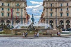 Fuente de las náyades en el della Repubblica de la plaza en Roma, taly foto de archivo libre de regalías
