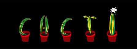 Fuente de los cactus Letra botánica suculenta Imagenes de archivo