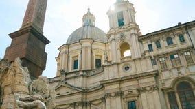 Fuente de los cuatro ríos, plaza Navona, Roma 4k almacen de video