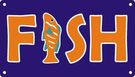Fuente de los pescados del océano en color azul anaranjado Fotos de archivo libres de regalías