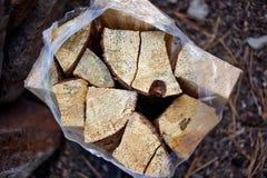 Fuente de madera tajada del fuego en una bolsa de plástico Foto de archivo libre de regalías