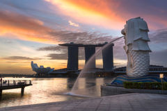 Fuente de Merlion en Singapur Fotografía de archivo libre de regalías