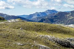 Fuente De in the in mountains of Picos de Europa, Cantabria, Spain. In the heart of the Picos de Europa, we find impressive landscapes of valleys and green stock photos