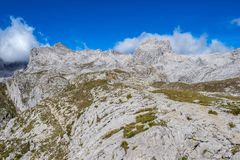 Fuente De in the in mountains of Picos de Europa, Cantabria, Spain. In the heart of the Picos de Europa, we find impressive landscapes of valleys and green royalty free stock photos