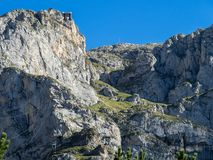 Fuente De in the in mountains of Picos de Europa, Cantabria, Spain. In the heart of the Picos de Europa, we find impressive landscapes of valleys and green stock photography
