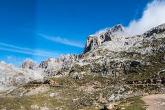 Fuente De in the in mountains of Picos de Europa, Cantabria, Spain. In the heart of the Picos de Europa, we find impressive landscapes of valleys and green stock image