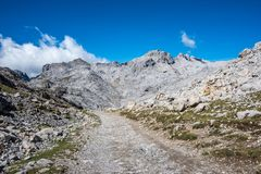 Fuente De in the in mountains of Picos de Europa, Cantabria, Spain. In the heart of the Picos de Europa, we find impressive landscapes of valleys and green royalty free stock images