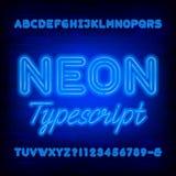Fuente de neón azul del alfabeto Letras mayúsculas intrépidas y números de la bombilla ilustración del vector