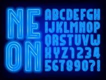 Fuente de neón azul del alfabeto Letras mayúsculas retras y números de la bombilla stock de ilustración