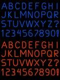 Fuente de neón del alfabeto Imagen de archivo libre de regalías
