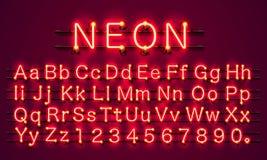 Fuente de neón del rojo del color de la ciudad Muestra del alfabeto inglés ilustración del vector