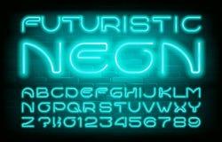 Fuente de ne?n futurista del alfabeto Letras simples y números de la bombilla Fondo de la pared de ladrillo libre illustration