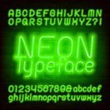 Fuente de ne?n verde del alfabeto may?scula y min?scula Letras y n?meros de la bombilla ilustración del vector