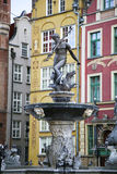 Fuente de Neptun en Gdansk, Polonia Foto de archivo