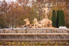 Fuente de Neptuno en Madrid, España Fotografía de archivo