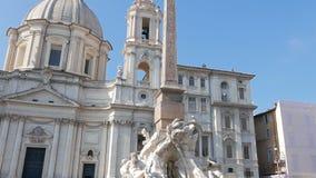 Fuente de Neptuno Plaza Navona, Roma, Italia - almacen de metraje de vídeo