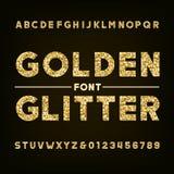 Fuente de oro del alfabeto del brillo Letras y números intrépidos Foto de archivo