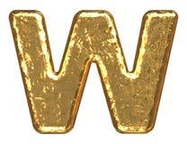 Fuente de oro. Letra W. Fotografía de archivo