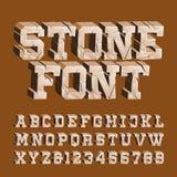 Fuente de piedra agrietada del alfabeto 3D da?? letras y n?meros libre illustration