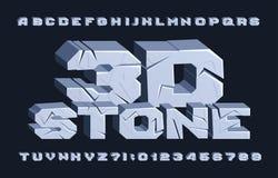 fuente de piedra del alfabeto 3D Letras y números agrietados ilustración del vector