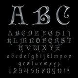 Fuente de plata elegante, alfabeto, ABC y números del platino Imagen de archivo libre de regalías