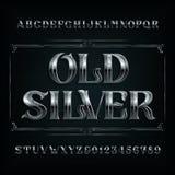 Fuente de plata vieja del alfabeto Cartas y números del metal de la vendimia ilustración del vector