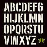 fuente de sans serif de la Plantilla-placa en estilo militar ilustración del vector