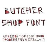 Fuente de Shop Decorative Meat del carnicero, alfabeto Ejemplo dibujado mano realista del vector del bosquejo del estilo de la hi Fotos de archivo